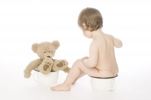 toddler and teddy bear sitting on potties